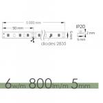 LED stripe PR  5/50/6W/m/(A), 800lm/m, ( L-5m )
